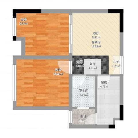 百康年奥运光年2室1厅1卫1厨61.00㎡户型图