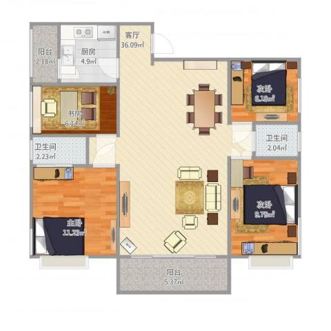 江南雅筑4室1厅2卫1厨117.00㎡户型图