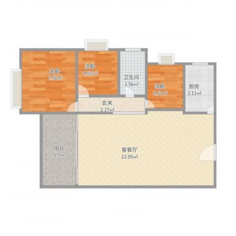 聚华居3室1厅1卫1厨71.00㎡户型图