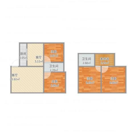 万枫家园4室2厅2卫1厨76.00㎡户型图