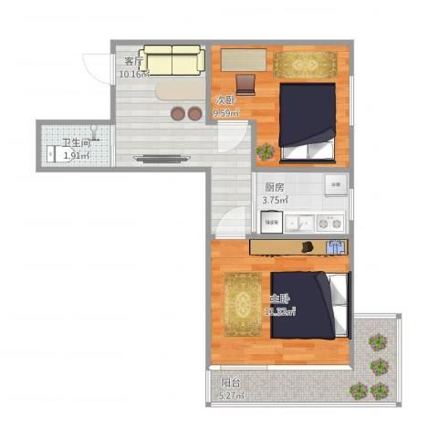 西坝河西里2室1厅1卫1厨58.00㎡户型图