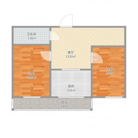 中房基安花园2室1厅1卫1厨64.00㎡户型图