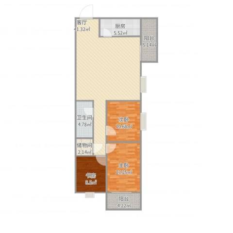 天利园3室1厅1卫1厨129.00㎡户型图