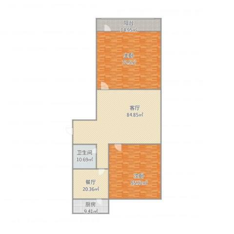 东兴小区2室2厅1卫1厨348.00㎡户型图