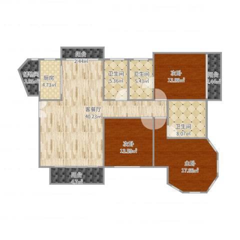 纯水岸花园10#6023室1厅3卫1厨165.00㎡户型图
