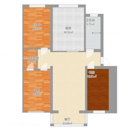 金东小区3室1厅1卫1厨138.00㎡户型图
