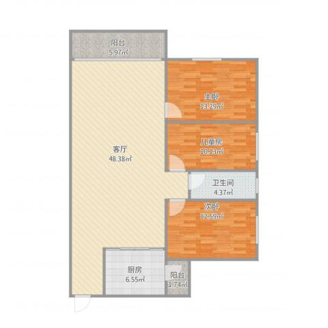 汇银城市花园3室1厅1卫1厨123.00㎡户型图