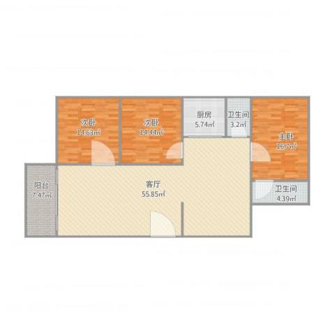金湖花园3室1厅2卫1厨162.00㎡户型图