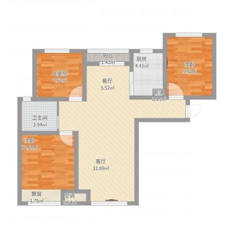 永定河孔雀城英国宫3室1厅1卫1厨106.00㎡户型图