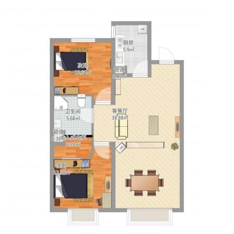 城市玫瑰园2室1厅3卫1厨111.00㎡户型图