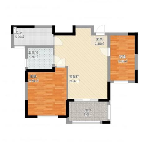 钻石铭苑2室1厅1卫1厨90.00㎡户型图