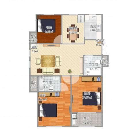 嘉利华府庄园4室1厅3卫1厨128.00㎡户型图
