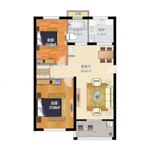 嘉悦景苑2室1厅1卫1厨111.00㎡户型图