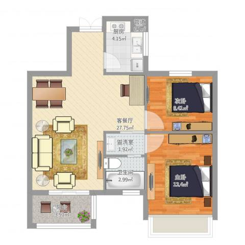 金色华府2室1厅1卫1厨87.00㎡户型图