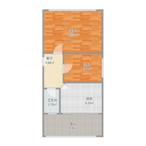 尖山街2室1厅1卫1厨72.00㎡户型图