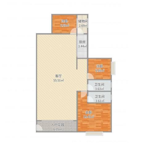 建兴楼3室1厅2卫1厨139.00㎡户型图