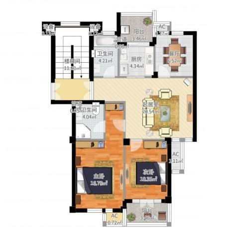 东台公寓2室1厅2卫1厨127.00㎡户型图