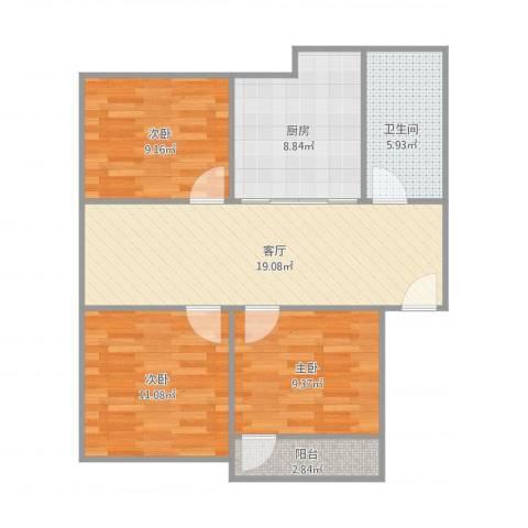 狮山新苑3室1厅1卫1厨90.00㎡户型图