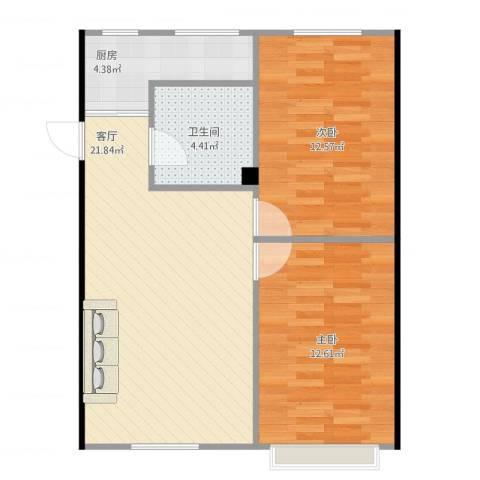 天鹅湖小区2室1厅1卫1厨75.00㎡户型图