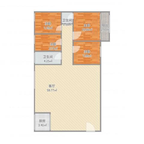 建丽花园4室1厅2卫1厨138.00㎡户型图