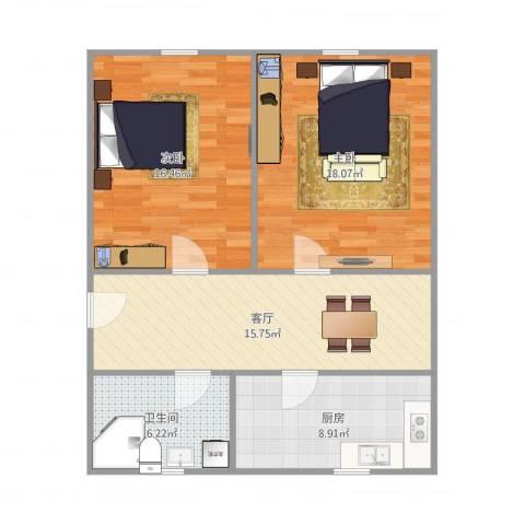 绿星小区2室1厅1卫1厨88.00㎡户型图
