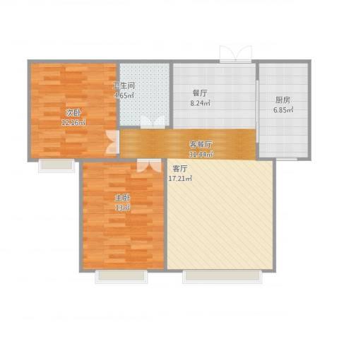 香缇苑2室1厅1卫1厨91.00㎡户型图