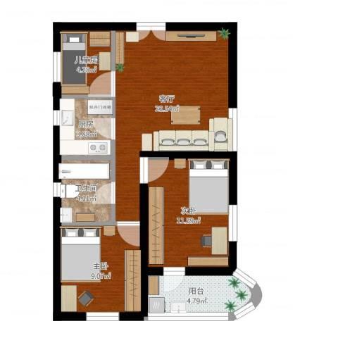 龙珠花园3室1厅1卫1厨86.00㎡户型图