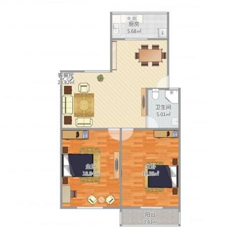 普利南辛花园7号2单元2022室1厅1卫1厨108.00㎡户型图