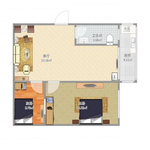 岭前街2室1厅1卫1厨69.00㎡户型图