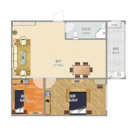 岭前街2室1厅1卫1厨105.00㎡户型图
