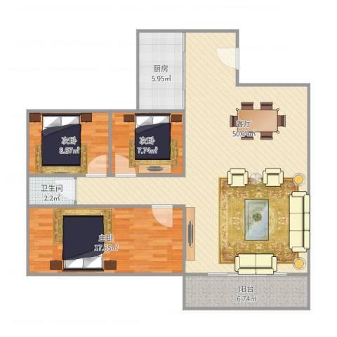 金澜新村3室1厅1卫1厨132.00㎡户型图