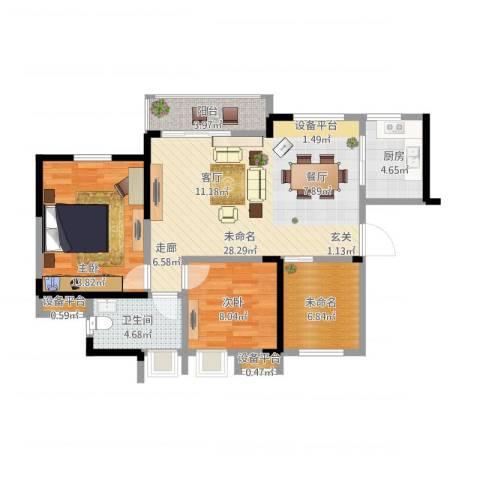 水安盛世桃源3室1厅3卫1厨101.00㎡户型图