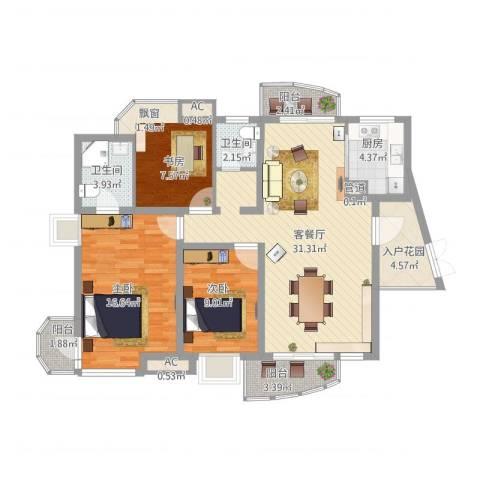 中铁人才家园2室1厅2卫1厨130.00㎡户型图