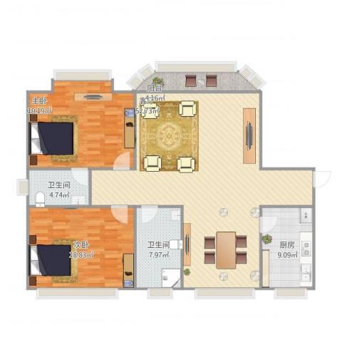 南宫智苑2室1厅2卫1厨155.00㎡户型图