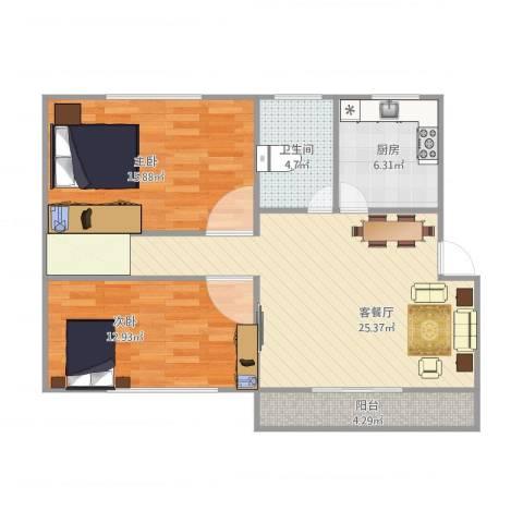 新里城和合苑2室1厅1卫1厨94.00㎡户型图