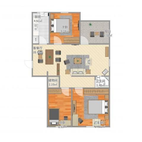 居华里3室1厅1卫1厨101.00㎡户型图