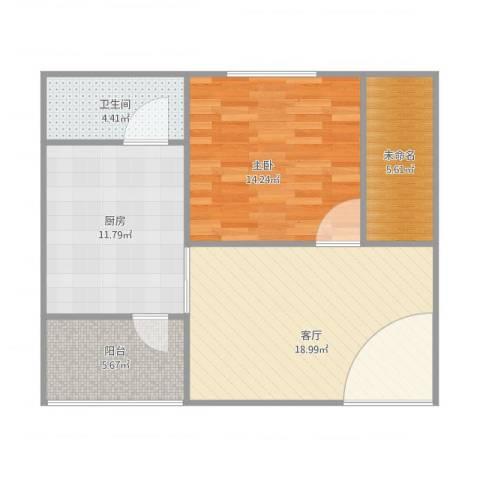 紫荆楼1室1厅1卫1厨82.00㎡户型图