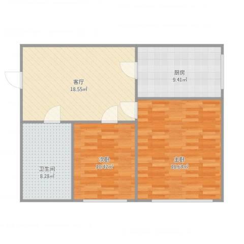 美树日记2室1厅1卫1厨87.00㎡户型图