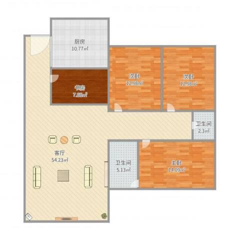 金澜新村4室1厅2卫1厨160.00㎡户型图