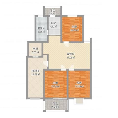 西欧名邸3室1厅3卫1厨145.00㎡户型图