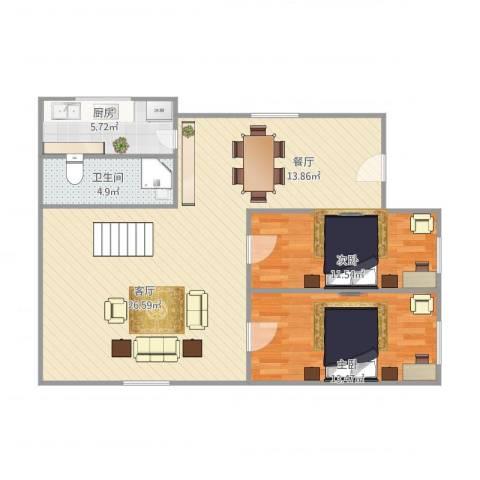 品新苑2室1厅1卫1厨106.00㎡户型图