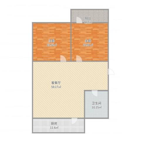 化纤小区2室1厅1卫1厨177.00㎡户型图
