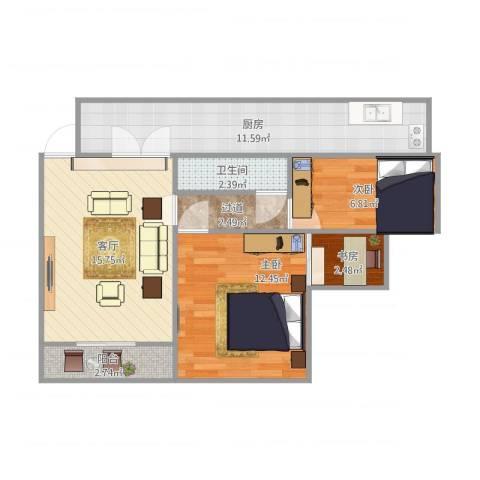 天工太阳岛3室1厅1卫1厨78.00㎡户型图