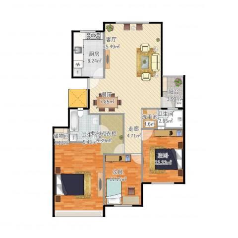 金象泰吉祥家园3室1厅2卫1厨120.00㎡户型图