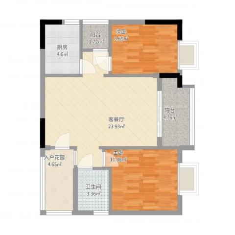 元邦明月园2室1厅1卫1厨90.00㎡户型图