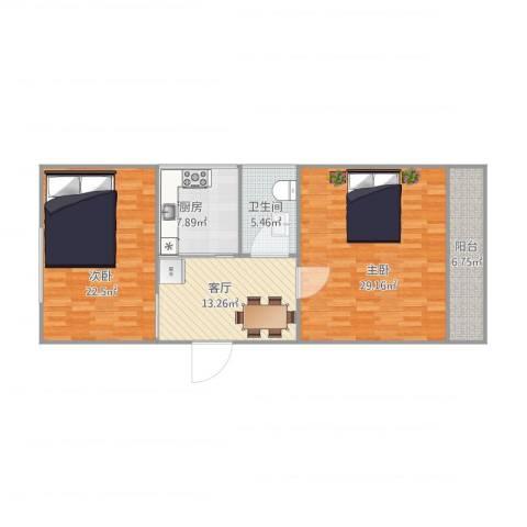 华安新村2室1厅1卫1厨113.00㎡户型图