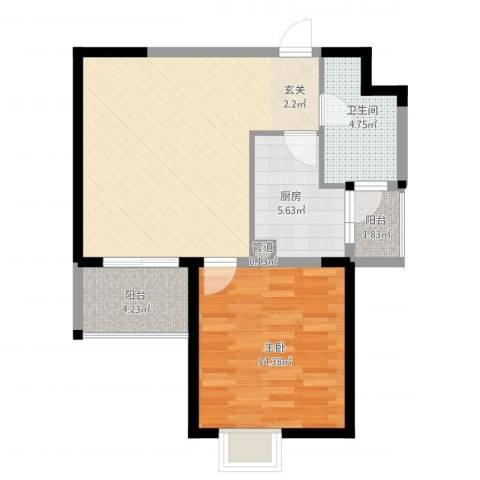 新都会花园二期1室1厅1卫1厨78.00㎡户型图