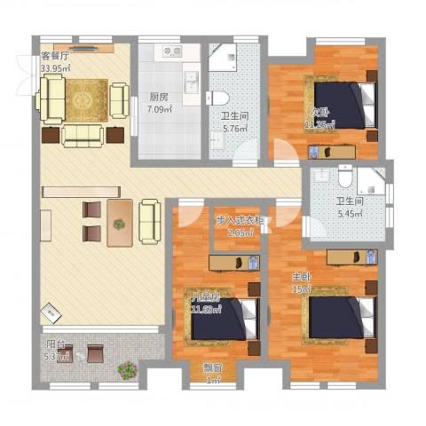 鸿舜御峰3室1厅2卫1厨142.00㎡户型图