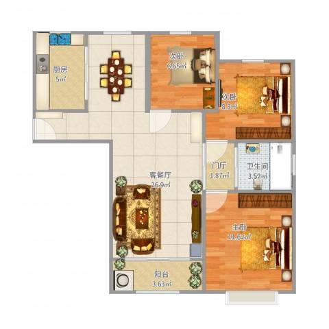 嘉利华府庄园3室1厅1卫1厨105.00㎡户型图