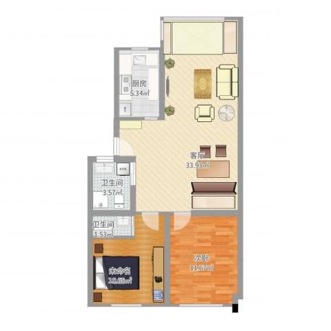 北蔡苑1室1厅2卫1厨93.00㎡户型图